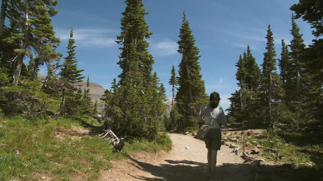WS Rear view of man and woman on hiking trail, Glacier National Park, Montana, USA