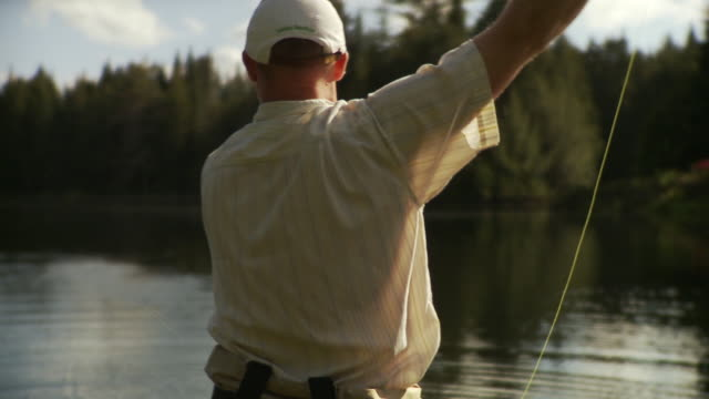 ms rear view of man fly fishing in forest lake, morristown, vermont, usa - eastern usa stock videos and b-roll footage