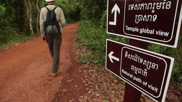 ws rear view of man on path leading to temple / angkor wat, siem reap, cambodia - western script stock videos & royalty-free footage
