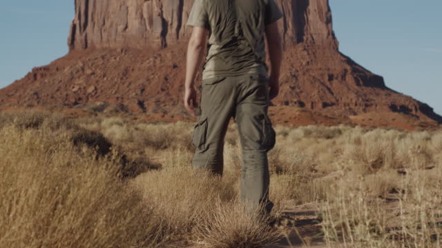MS, Rear view of man walking through Monument Valley towards butte, Arizona, USA