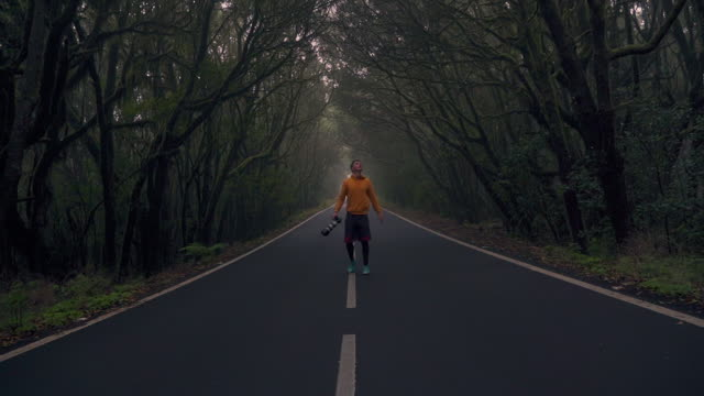 slo mo ws ms rear view of man with camera walking on treelined road / la gomera, canary islands, spain - wide shot stock videos & royalty-free footage