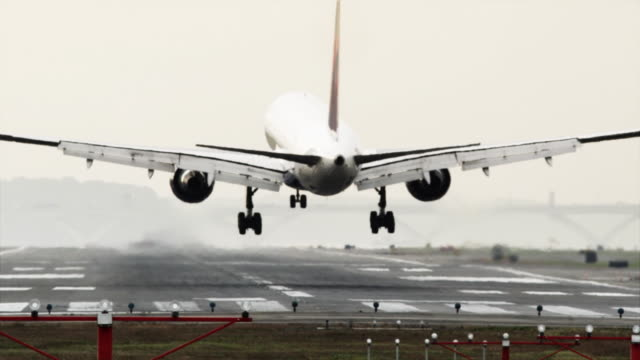 vidéos et rushes de slo mo ws rear view of passenger airplane landing on ronald reagan washington national airport / washington dc, usa - aéroport ronald reagan
