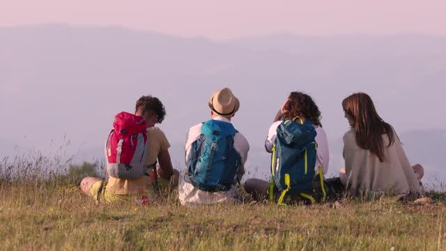 rückansicht einer verspielten gruppe von freunden, die auf der wiese sitzen und die aussicht genießen. - sitting stock-videos und b-roll-filmmaterial