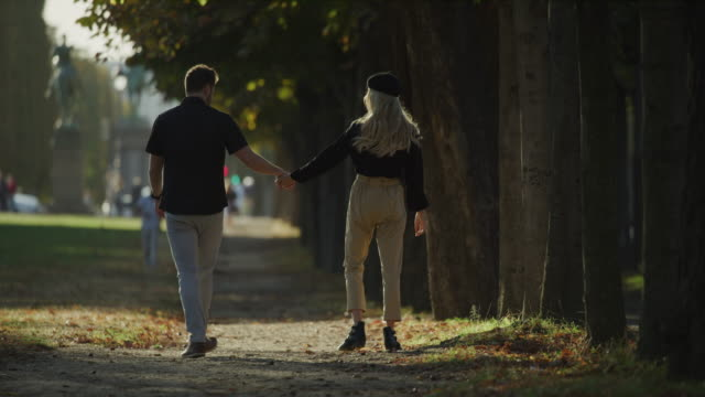 rear view of romantic couple holding hands and kissing in park / paris, ile de france, france - baciare video stock e b–roll