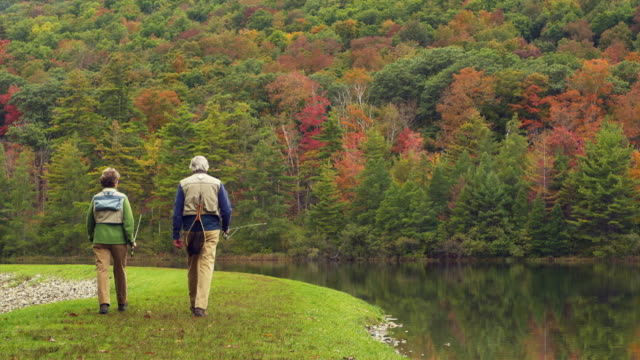 ws rear view of senior couple walking along lake shore carrying fishing rods, manchester, vermont, usa - vermont stock-videos und b-roll-filmmaterial