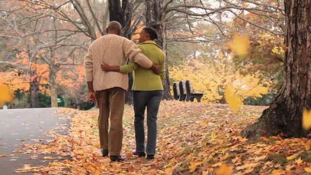 WS TU Rear view of senior couple walking in park in Autumn / Richmond, Virginia, USA