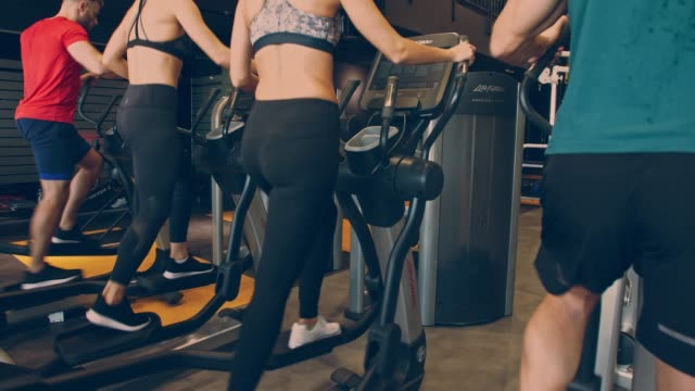 rear view of small group of young athletes working out on elliptical machines - cardiovascular exercise stock videos & royalty-free footage
