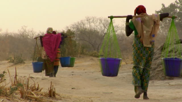 vídeos de stock e filmes b-roll de ws, rear view of three women carrying water through arid area, niamey, niger - plano geral