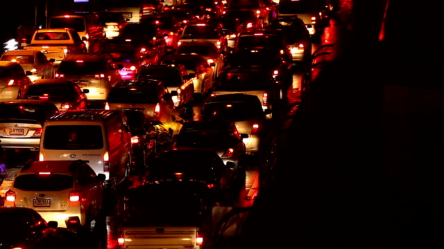 rear view of traffic jam in bangkok, thailand. - traffic jam stock videos and b-roll footage