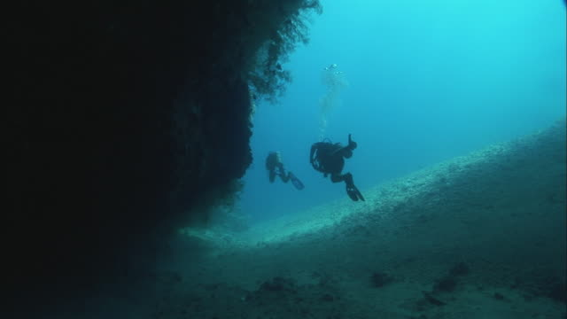 stockvideo's en b-roll-footage met ws zi rear view of two scuba divers in red sea/ egypt - scubaduiken