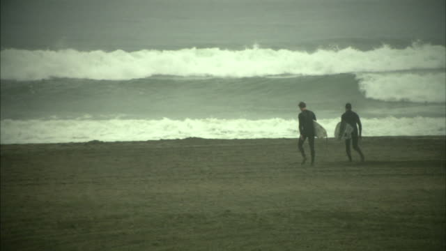 WS PAN Rear view of two surfers walking towards sea holding surfboards, San Francisco, California, USA