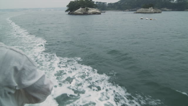 t/l cu pan rear view of two women feeding seagulls from boat, matsushima, japan - boat point of view stock videos & royalty-free footage