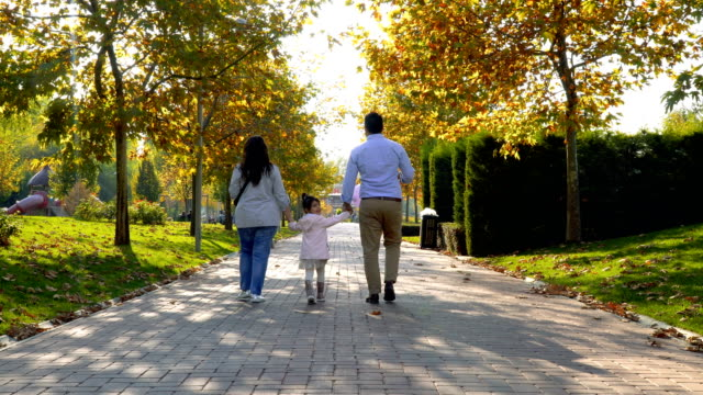 rear view of walking family in city park - young family stock videos & royalty-free footage