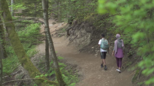 vidéos et rushes de rear view of woman hiking with brother in forest - vêtement religieux