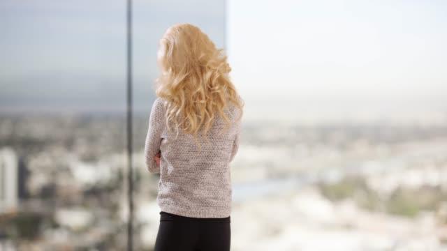 vídeos y material grabado en eventos de stock de rear view of woman looking out floor to ceiling window in corporate building - detrás