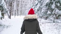 Rear view of woman walking in winter forest