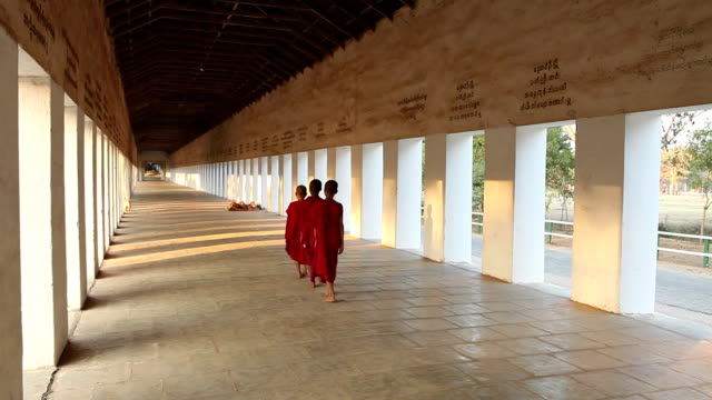 ws rear view of young buddhist monks walking down corridor / burma - children only stock videos & royalty-free footage