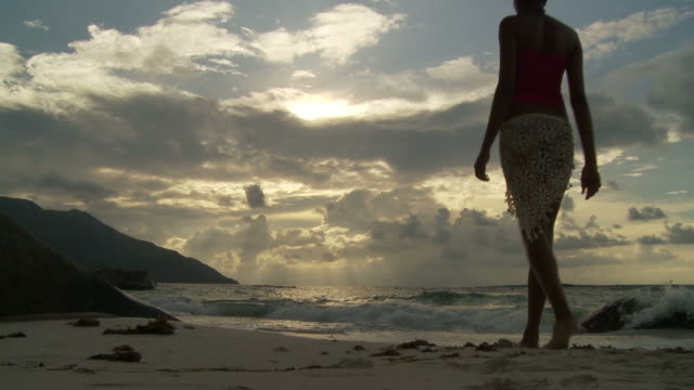 ws rear view of young woman on beach at dusk / seychelles  - sleeveless top stock videos & royalty-free footage