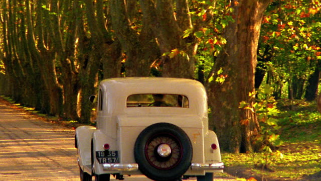 stockvideo's en b-roll-footage met rear view pan 1935 delahaye 135 coupe driving on tree lined dirt road towards house / provence - 1935