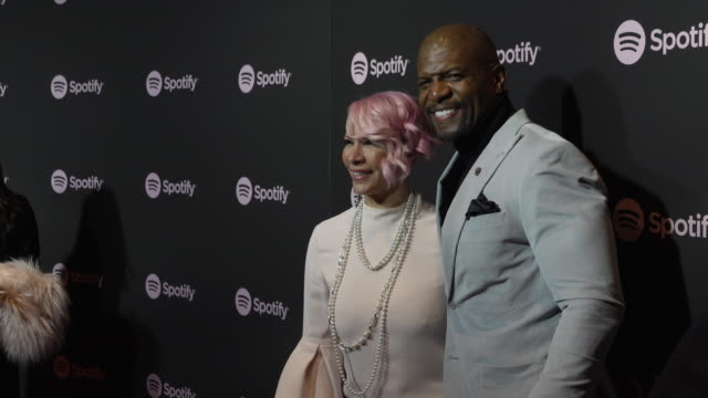 rebecca king-crews and terry crews at the spotify's best new artist 2019 party at hammer museum on february 7, 2019 in los angeles, california. - spotify stock videos & royalty-free footage