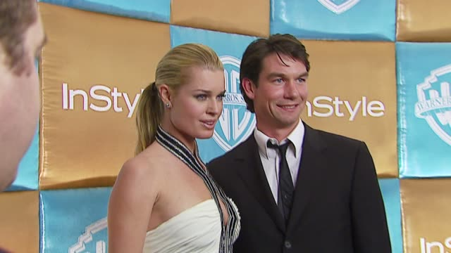 stockvideo's en b-roll-footage met rebecca romijn and jerry o'connell at the in style magazine and warner brothers annual golden globes party at the beverly hilton in beverly hills... - rebecca romijn