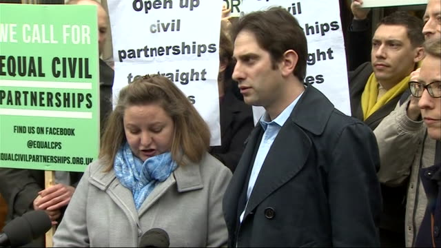Rebecca Steinfeld and her partner Charles Keidan speaking outside court after judges rule against them entering into a heterosexual civil partnership