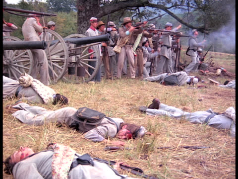 rebel soldiers fire at advancing union soldiers - civil war stock videos and b-roll footage