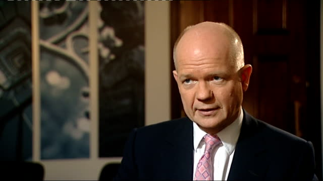allied forces continue air campaign william hague interview england london westminster int william hague mp interview sot [on more air strikes... - exclusive stock videos and b-roll footage