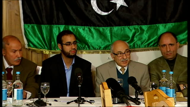 antigaddafi press conference in london england london knightsbridge photography** dr ahmed sewheli briefly introducing press conference sot /... - az zawiyah stock videos & royalty-free footage