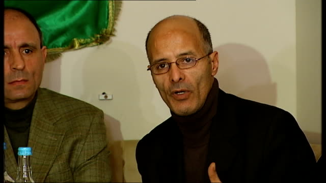 antigaddafi press conference in london unidentified libyan man speaking at press conference sot on colonel gaddafi trying to distort what is... - libyan civil war stock videos & royalty-free footage