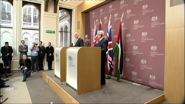 international diplomacy; foreign office: william hague mp into press conference with palestinian president mahmoud abbas itn reporter asking question... - diplomacy stock videos & royalty-free footage