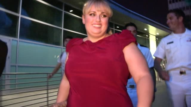 Rebel Wilson greets fans while departing the Pitch Perfect Premiere in Hollywood 09/24/12
