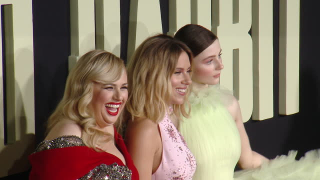 "rebel wilson scarlett johansson thomasin mckenzie at the ""jojo rabbit"" los angeles premiere presented by fox searchlight pictures in los angeles ca - rebellion stock videos & royalty-free footage"