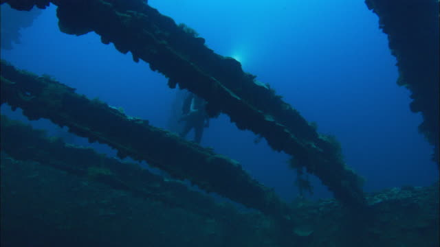 Rebreather Diver films, Hoki, swim by over girders of hold at deck level, Chuuk Lagoon, South Pacific