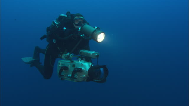 rebreather diver swims with hd, costa rica, pacific ocean  - aqualung diving equipment stock videos & royalty-free footage