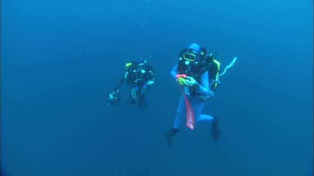 Rebreather divers ascent, with sausage, Costa Rica, Pacific Ocean