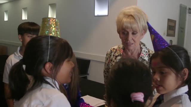 recent archive footage of dame barbara windsor attending a lunch party for a children's charity paying tribute to ronnie corbett and inaugrating the... - ronnie corbett stock videos and b-roll footage