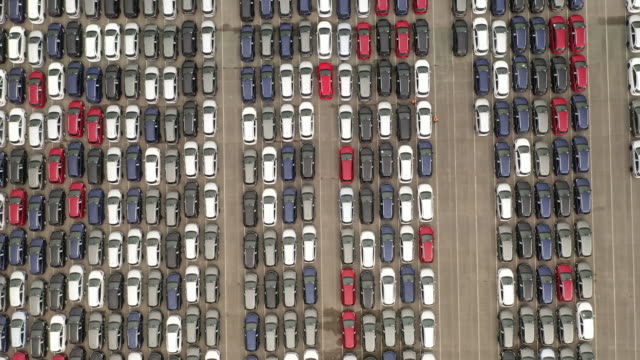 recently assembled vauxhall vehicles are stored in the distribution yard at the vauxhall car factory on march 17, 2020 in ellesmere port, england.... - port said stock videos & royalty-free footage