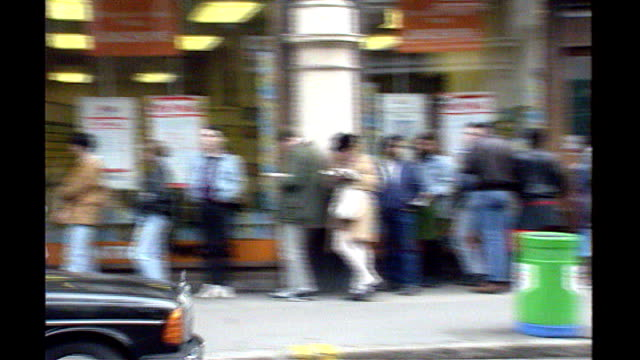 forecast of three million unemployed by 2010 november 1990 england london mortimer st ext queue of jobless people outside job centre job seekers in... - recession stock videos & royalty-free footage