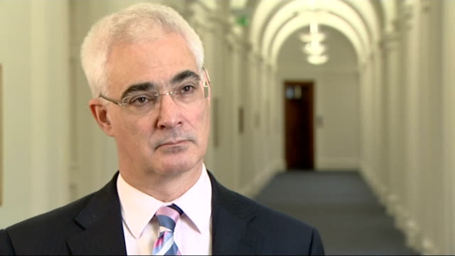 interview with chancellor of the exchequer england london treasury int sot alistair darling mp interview sot this is going to be a difficult year for... - alistair darling stock videos & royalty-free footage