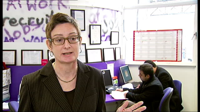 vídeos de stock, filmes e b-roll de 'recession road' london businesses struggling felicity dunn interview sot various of staff and clients in job centre alison dickens interview sot... - woolworths