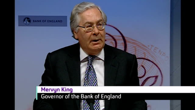 Recession will be worse than at first thought says Mervyn King / Nearly two million people unemployed ENGLAND London INT Mervyn King press conference...