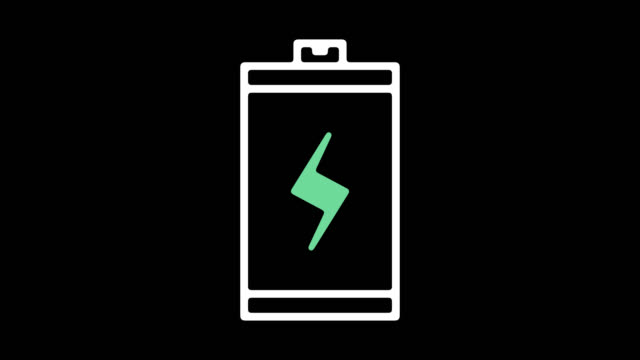rechargeable batteries line icon animation with alpha - high voltage stock videos & royalty-free footage
