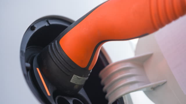 Recharging electric car batteries close up