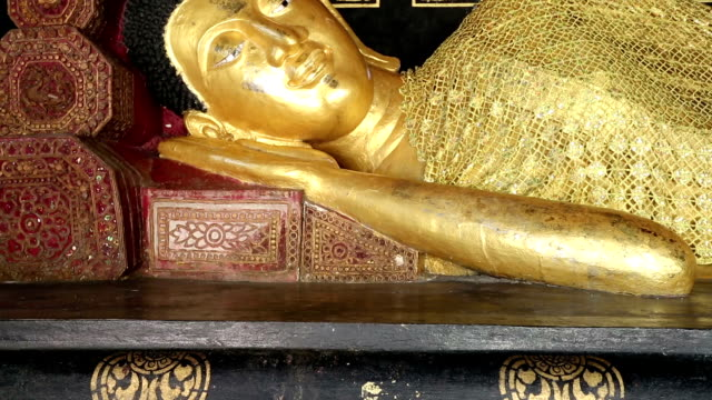reclining buddha wat chedi luang - gilded stock videos & royalty-free footage