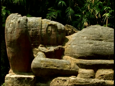 reclining god statue in forest, bandhavgarh national park, india - remote location icon stock videos & royalty-free footage