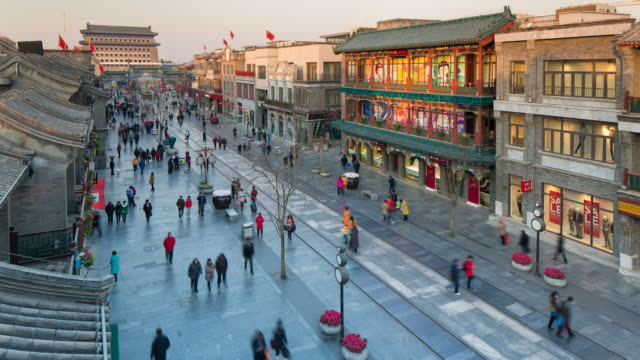 reconstructed traditional pedestrian street built for tourists at qianmen in beijing, china - time lapse - beijing stock videos & royalty-free footage