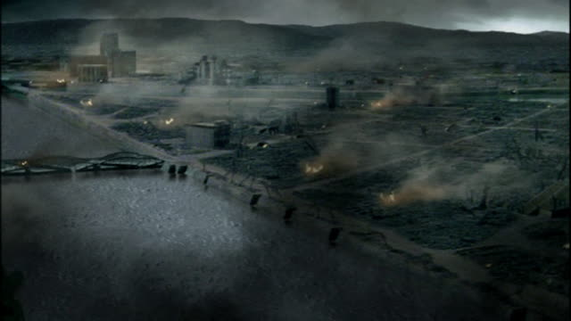 Reconstruction depicting devastated Hiroshima following dropping of atomic bomb on city Available in HD.