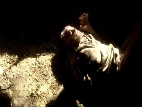 reconstruction of exorcism drama and bible story 'healing of the paralytic' - exorzimus stock-videos und b-roll-filmmaterial