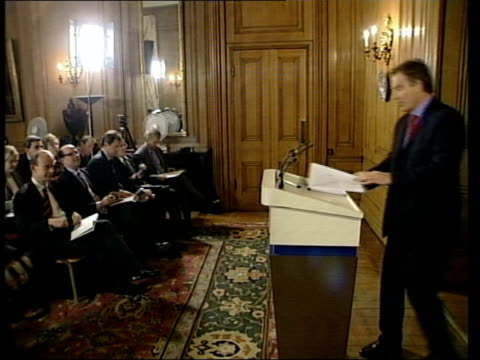 int reconstruction of jury members casting votes downing street tony blair mp up to press conference podium tony blair mp press conference sot there... - defendant stock videos & royalty-free footage